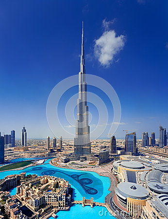 A skyline of Downtown Dubai with the Burj Khalifa