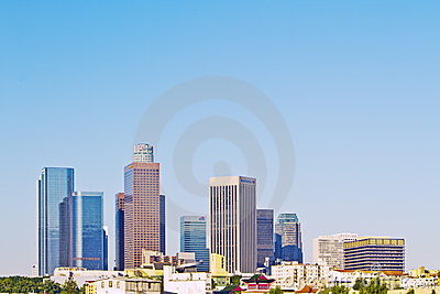 Skyline of Downtown Los Angeles With Logos Editorial Photography