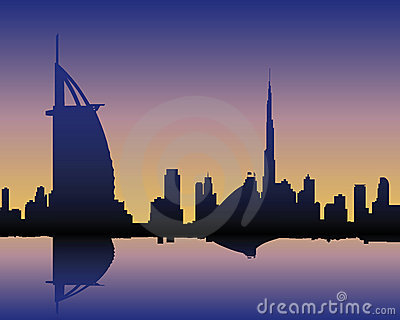 Skyline Dubai at sunset