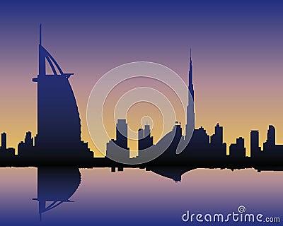 Skyline Dubai at sunset