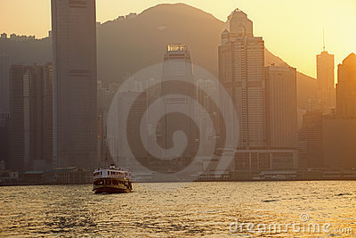 Skyline of Hong Kong at Dusk