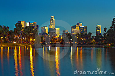 The Skyline of Los Angeles Reflected in Echo Park Editorial Stock Photo