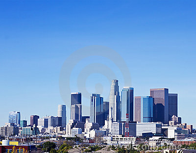 Skyline of Los Angeles On A Sunny Day Editorial Stock Image