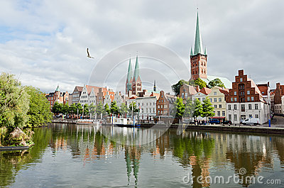 Skyline of Lubeck city
