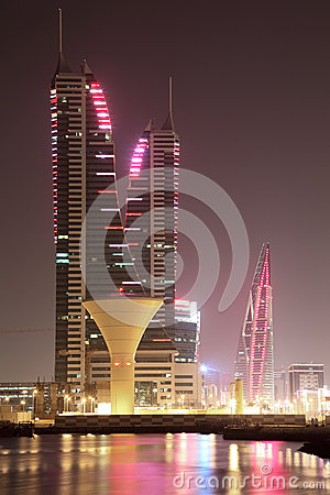 Skyline of Manama at night. Bahrain