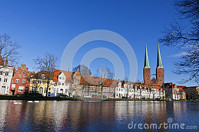 Skyline of the medieval city of Lubeck