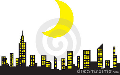 Skyline with moon