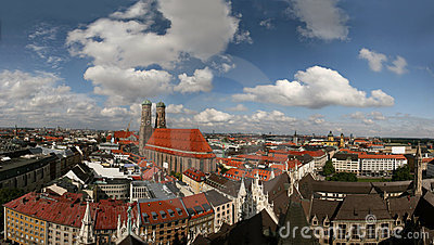 Skyline of Munich (Germany) and Frauenkirche