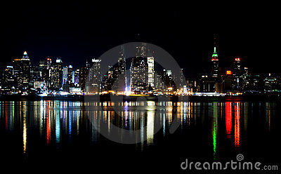 Skyline of New York City at night