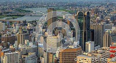 Skyline of Osaka Japan Editorial Stock Photo