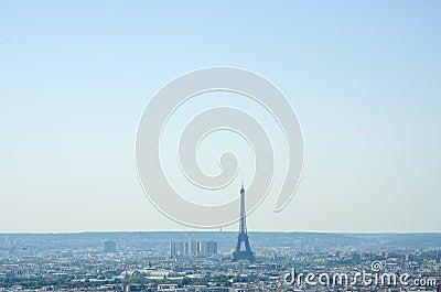Skyline of Paris on summer day