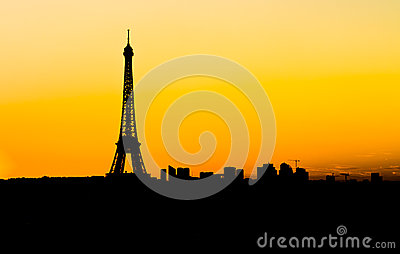 Skyline Of Paris At Sunset
