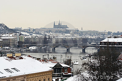 Skyline of Prague in winter