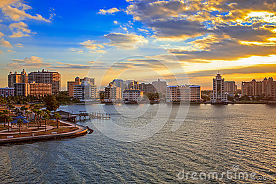 Skyline of Sarasota bay at sunrise