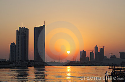 Skyline of seef area during sunset in Bahrain
