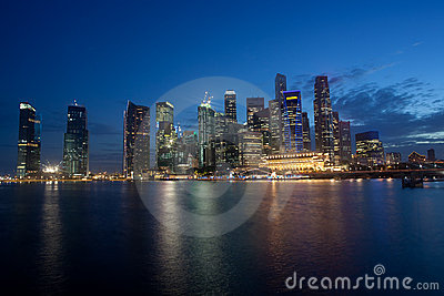 Skyline of Singapore Financial District at Dusk