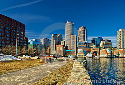 Skyline at south boston in winter