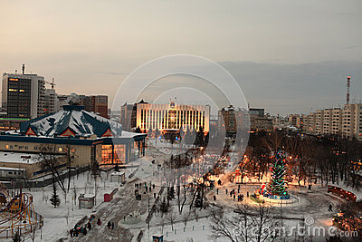 Skyline of Tyumen at night
