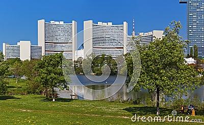 Skyline Uno City Vienna in summer at Kaiserwasser