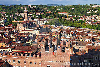 Skyline of Verona, Italy from the Lamberti Tower