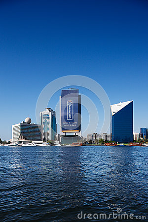 Skyline view of Dubai Creek Skyscrapers, UAE Editorial Photo