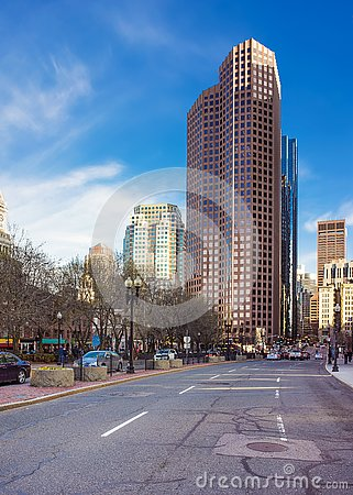 Free Skyline With Skyscrapers At Congress Street In Downtown Boston Royalty Free Stock Image - 82198096
