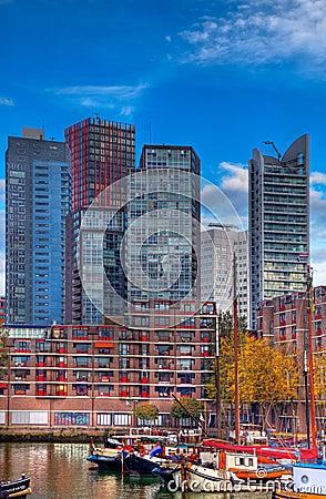 Skylines de Rotterdam Foto Editorial