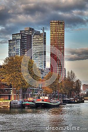 Skylines de Rotterdam Fotografia Editorial