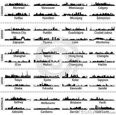 Free Skylines Of Canada, Mexico, China, Japan And Australia Cities Stock Photo - 57550940