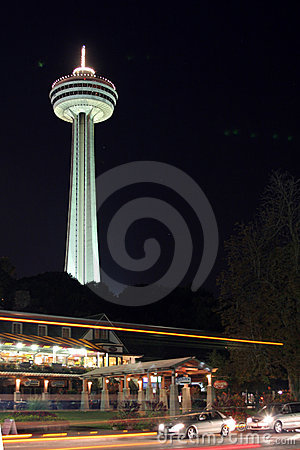 Skylon tower, Niagra Falls, Canada, at night
