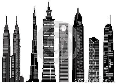 Skyscraper buildings vector 1