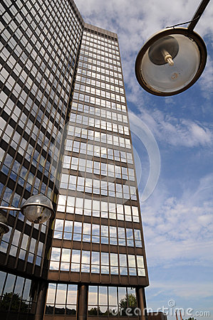 Skyscraper with lamppost