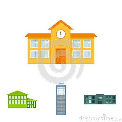 Free Skyscraper, Police, Hotel, School.Building Set Collection Icons In Cartoon Style Vector Symbol Stock Illustration Web. Royalty Free Stock Image - 100156196