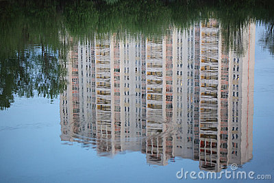 Skyscraper reflexion in water