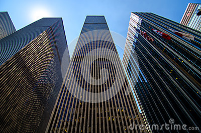 Skyscrapers along 6th Avenue in Midtown Manhattan. Editorial Image