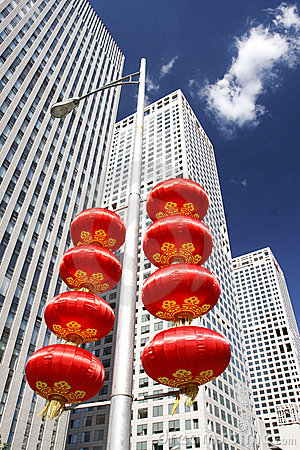 Free Skyscrapers And Red Lanterns Royalty Free Stock Photos - 6238448
