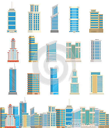 Skyscrapers buildings isolated tower office city architecture house business apartment vector illustration Vector Illustration