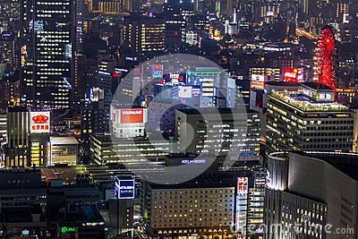 Skyscrapers of central Osaka  at night Editorial Image