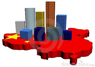Skyscrapers on China map flag
