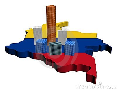 Skyscrapers on Colombia map flag