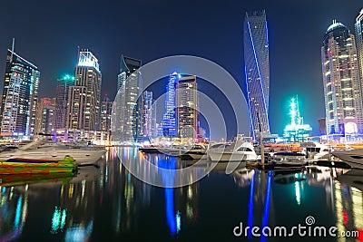 Skyscrapers of Dubai Marina at night