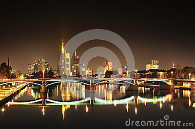 Frankfurt modern city by night