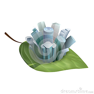 Skyscrapers growing from a leaf