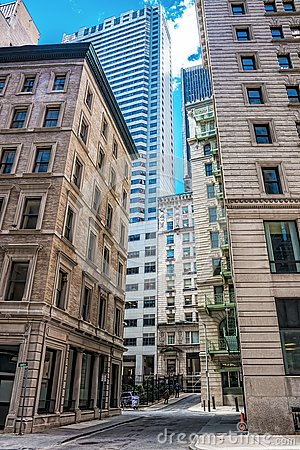 Free Skyscrapers In Congress Street In Financial District Of Downtown Boston Stock Images - 82202784