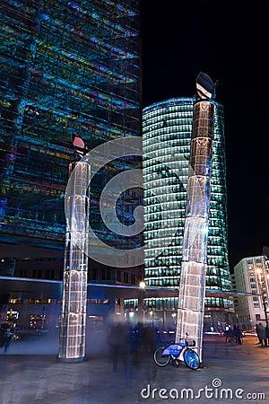 Skyscrapers on Postadmer Platz to night lighting Editorial Stock Photo