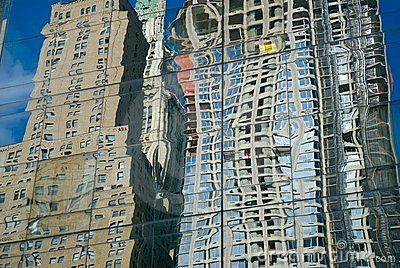 Skyscrapers reflected on glass