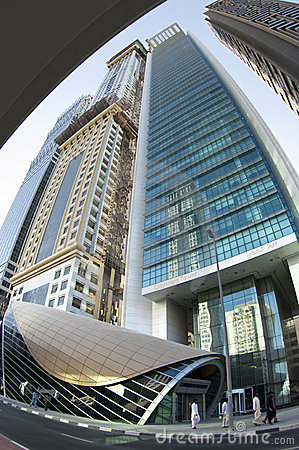 Skyscrapers at a subway station, Dubai, UAE Editorial Image
