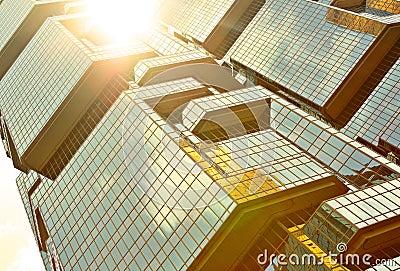 Skyscrapers with sun glare