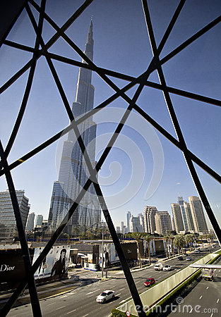 The skyskraper Burj Khalifa in Dubai Editorial Photography