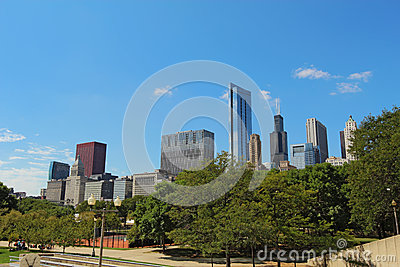 Skyskrapor i i stadens centrum Chicago, Illinois